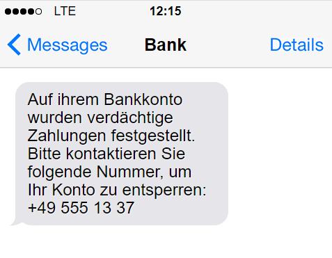 Phishing-Nachricht mit Nummer der Betrüger