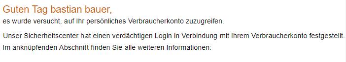 Kleinschreibung in der Ansprache der Phishing-Mail