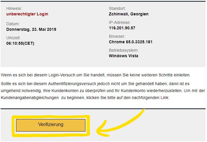 Gefälschter Verifizieren-Button in der E-Mail