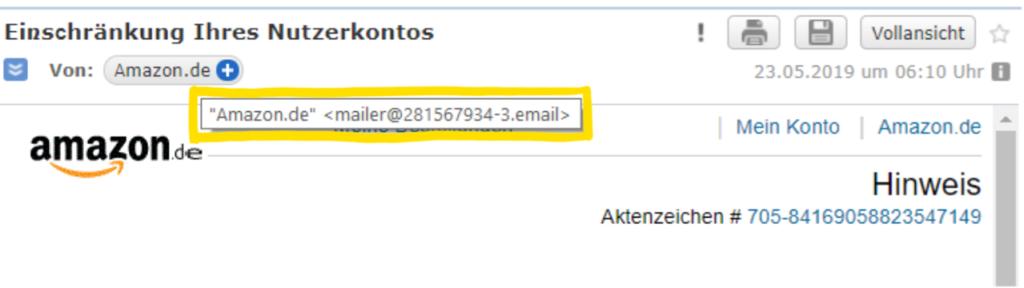 Korrekte Analyse des Absenders einer Phishing-E-Mail