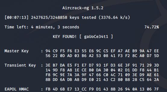 aircrack-ng Ausgabe mit geknacktem Passwort